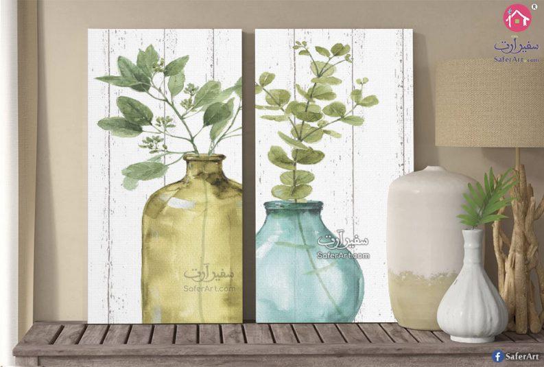 لوحه حائط مميزه من قطعتين لنباتات ذات اوراق خضراء