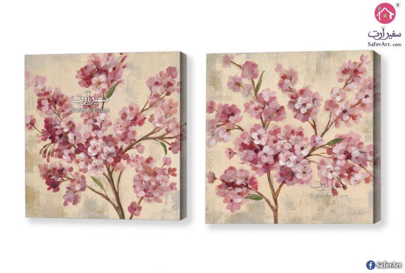لوحه حائط مصممه بطريقه مبتكره لمجموعه زهور وورود