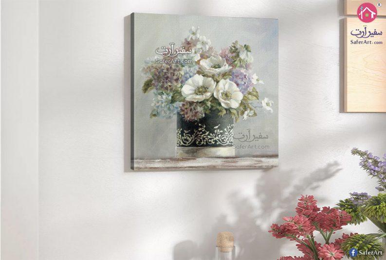 تابلوه حائط فازه داخلها زهور وروود