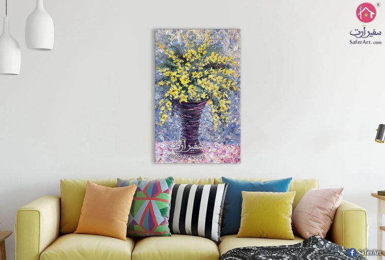 تابلوه مودرن مرسوم لمجموعه زهور وورود