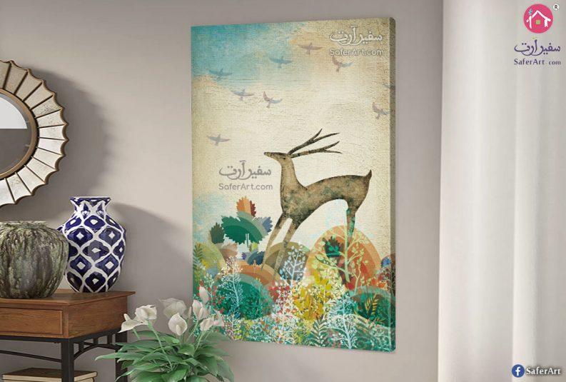 لوحه حائط الغزاله والطيور