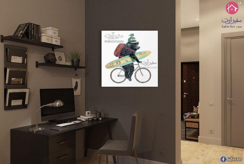 لوحه فنيه الدب يركب دراجه