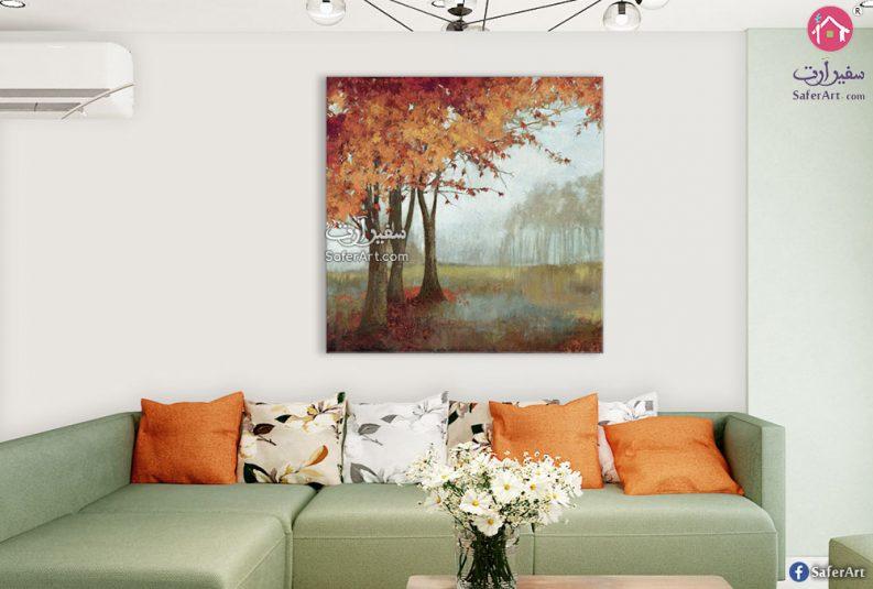 تابلوه مودرن منظر طبيعى لشجره مصممه فى فصل الخريف