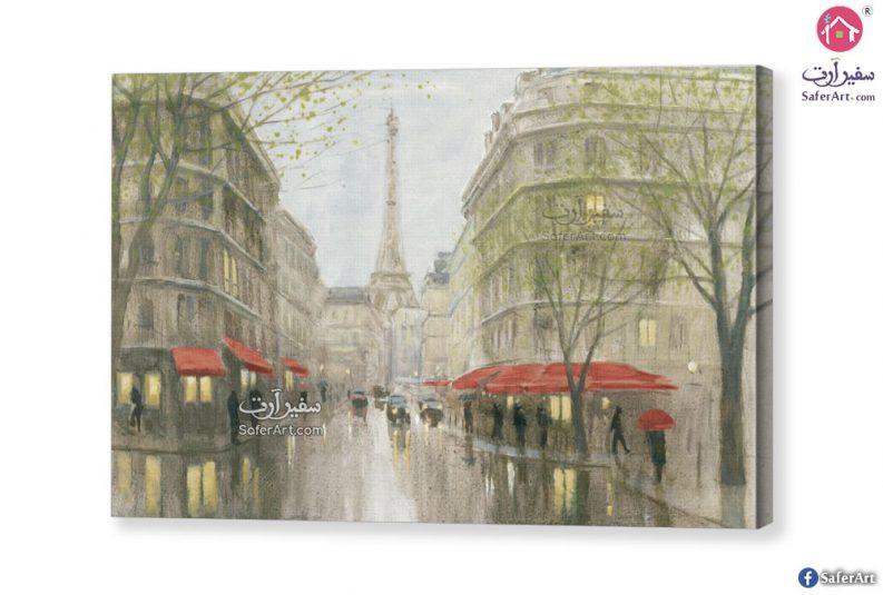 تابلوه مودرن لبرج ايفيل من احدى شوارع باريس