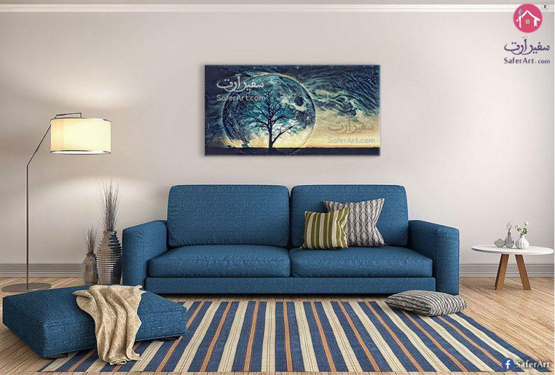 تابلوه للقمر وشجرة باللون الأزرق