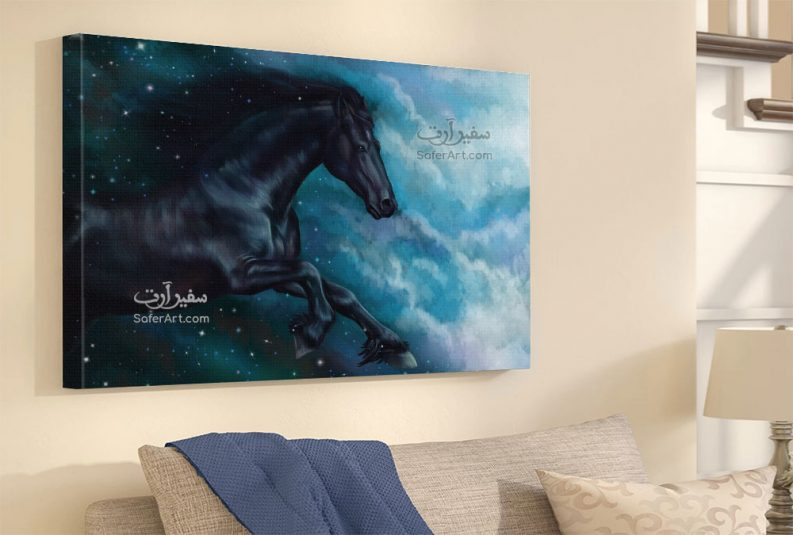 لوحة حصان أسود