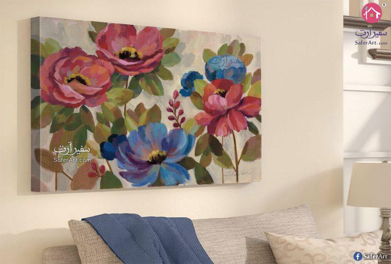 ورود وزهور باللون الاحمر والازرق