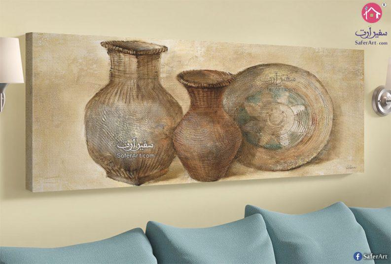 لوحة فنية فازات فخارية
