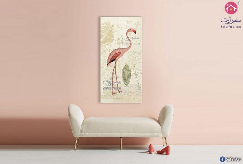 لوحة مودرة لطائر الفلامنجو