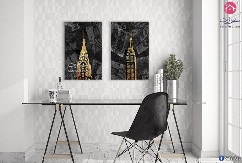 لوحات باللون الأسود والذهبي