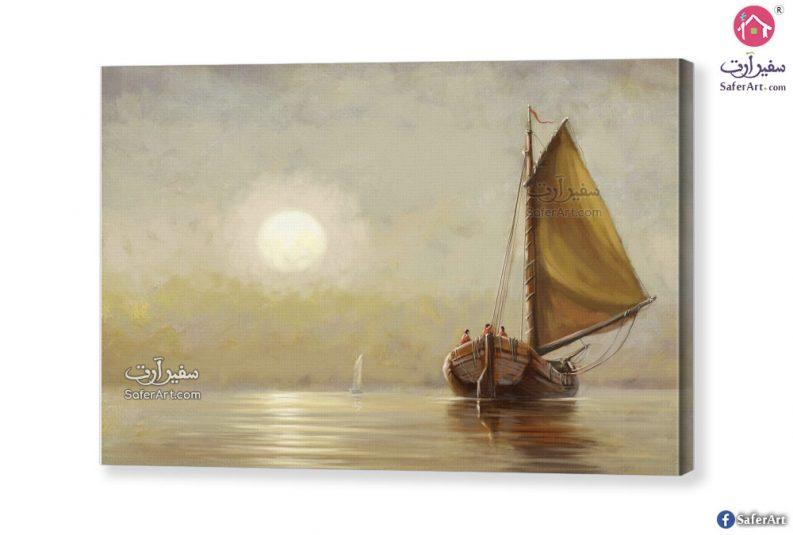 لوحة رائعة للشمس والبحر وقت الغروب