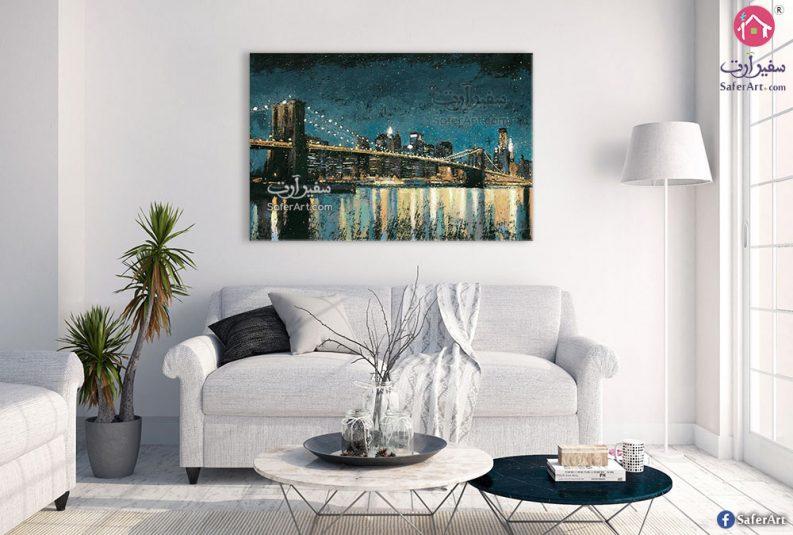 لوحة فنية المدينة ليلا