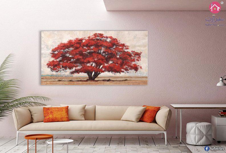 تابلوه مودرن شجرة حمراء