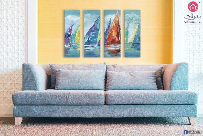 لوحة فنية قوارب شراعية