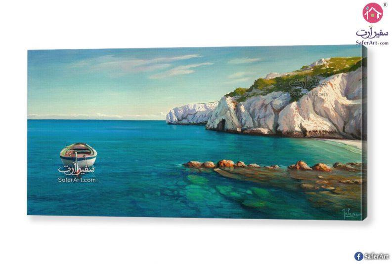 لوحة فنية بحر وقارب