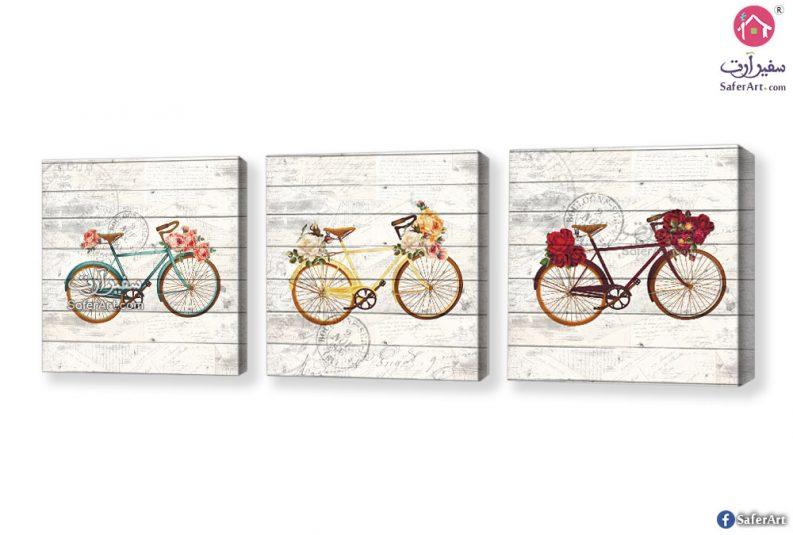 لوحة دراجات وزهور