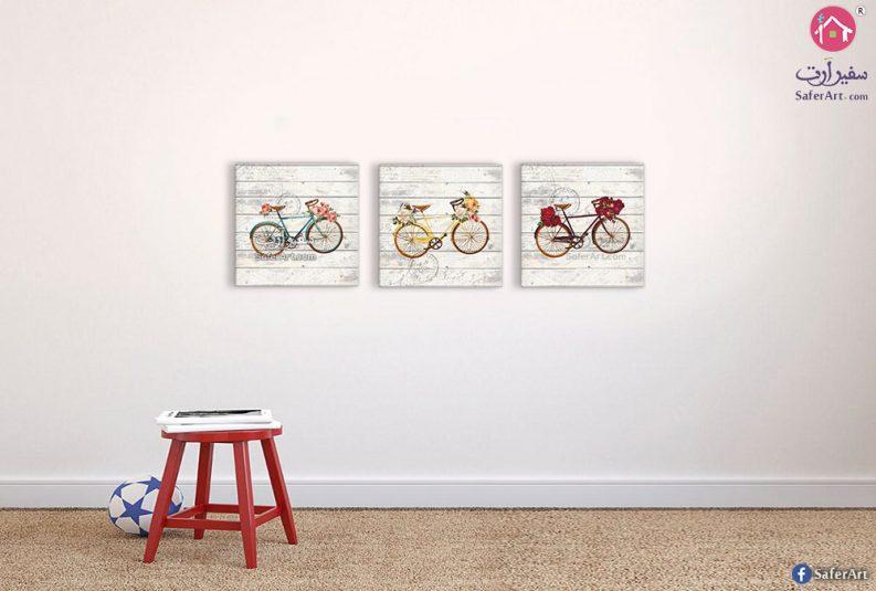 لوحات دراجات وزهور