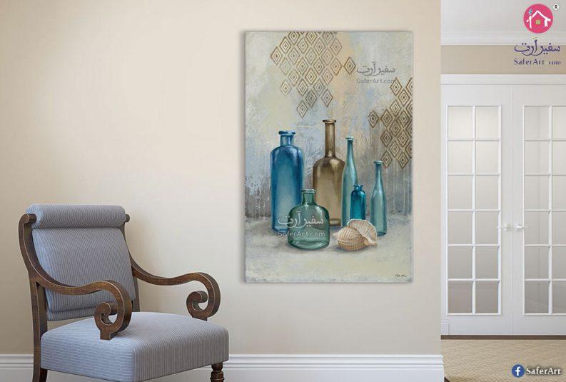 لوحة فنية زجاجات