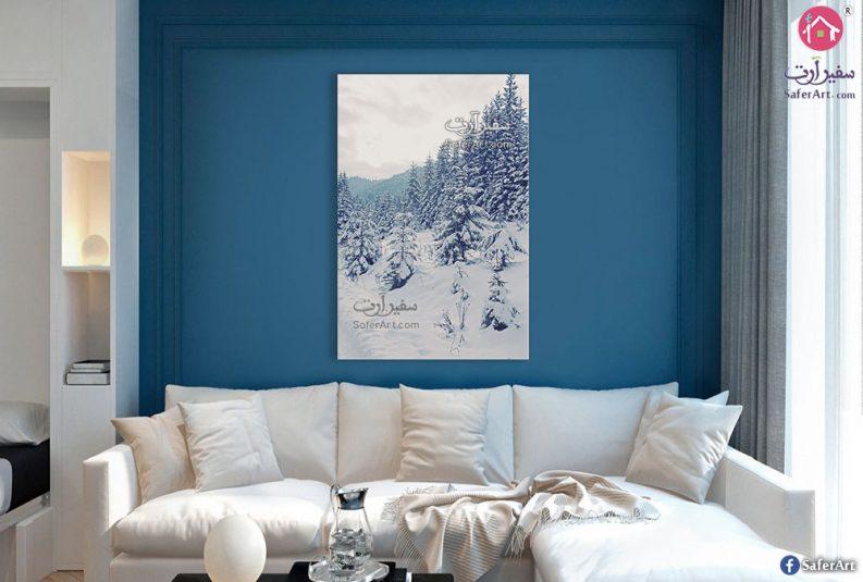 لوحة فية غابات وجليد