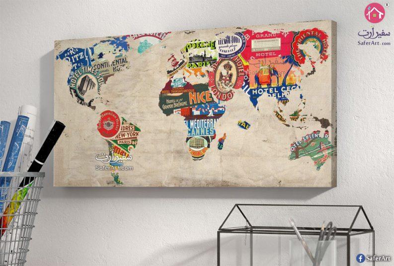 تابلوهات مودرن خريطة العالم