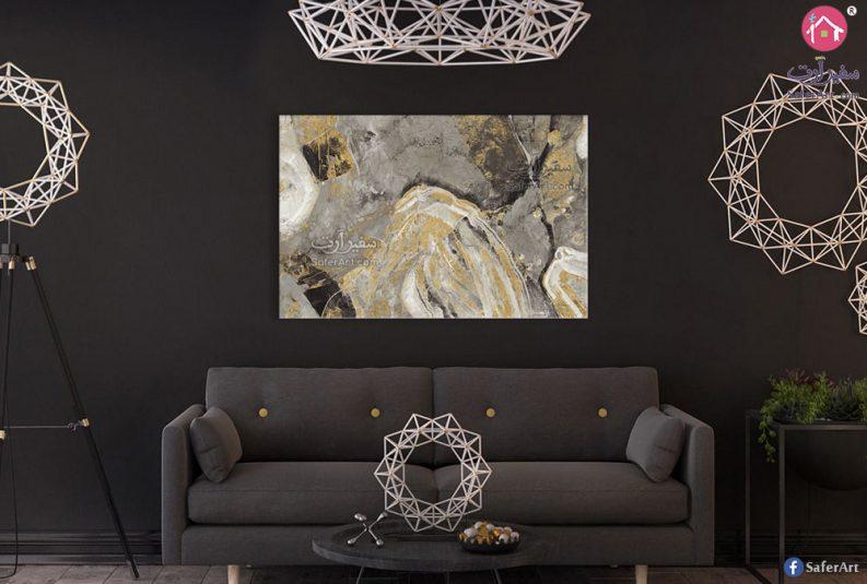 لوحة فنية فضى وذهبي