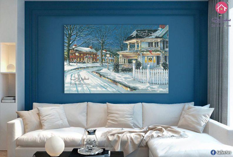 لوحة فنية باللون الأزرق