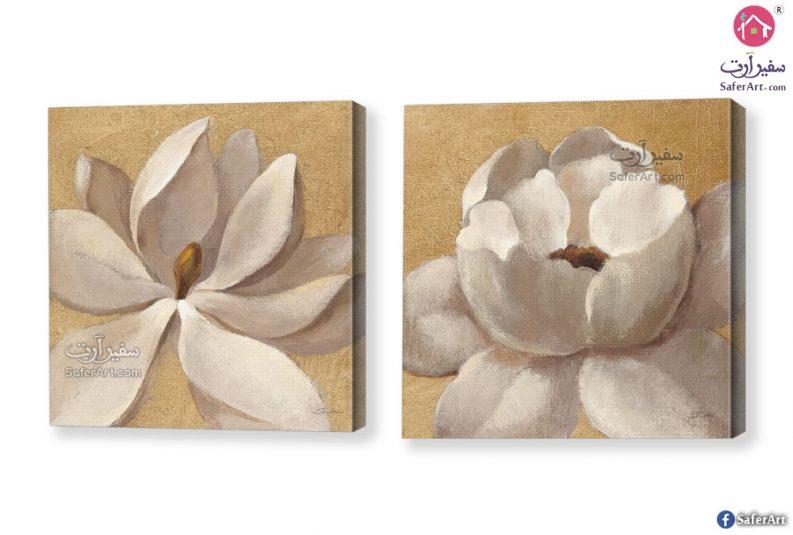 لوحة فنية الوردة البيضا