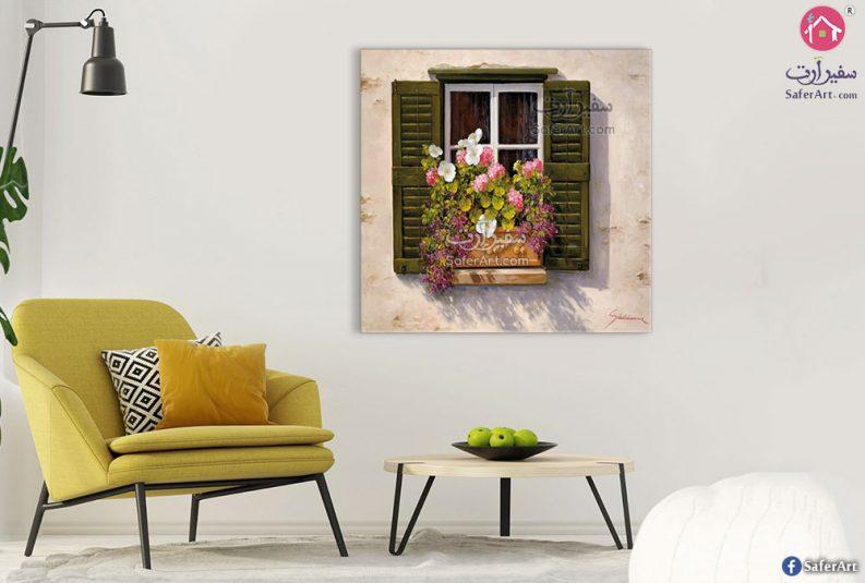 لوحات نافذة وورود