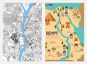 تابلوهات مودرن خرائط مصرية